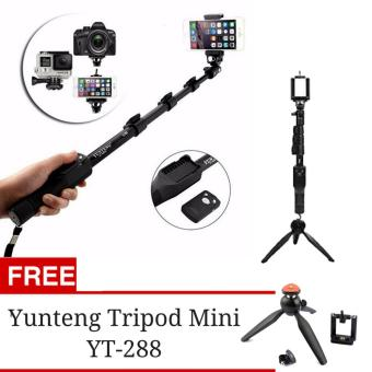 Harga Yunteng YT-1288 Original Bluetooth Tongsis with Remote Shutter + Tripod Mini Yunteng YT-288 Full Package