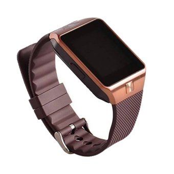 Harga uNiQue Smart Watch DZ09 U9 for iOS and Android - Strap Rubber - Cokelat