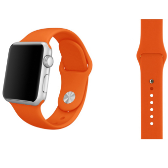 Harga Soft Silicone Watch Band Strap With Connector Adapter For Apple Watch iWatch 42mm (Orange)