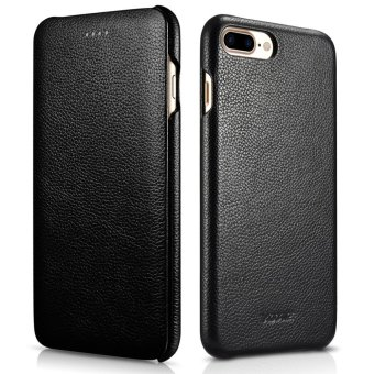 Harga For iPhone 7 Plus Genuine Leather Case,XOOMZ Vintage Leather Flip Folio Opening Cover, Curved Edge Design for Apple iPhone 7 Plus 5.5 inch (Black) - intl