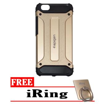 Case Tough Armor Carbon for Vivo Y55 - Gold + Free iRing