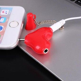 Heart Love Shaped 3.5mm Stereo Aux Audio Headphone 2 Way Splitter Adapter - intl