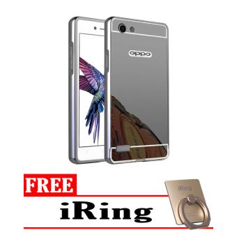 Case For Oppo Neo 7 / A33 Bumper Slide Mirror - Black + Free iRing