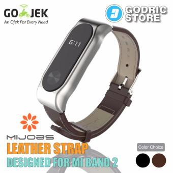 Harga MIJOBS Leather Strap Magnetic Shell for Xiaomi Mi Band 2 OLED Original - Coklat Tua
