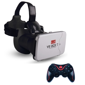 Harga Vr Box T play more VR game, with fingertip control 3d vr glasses riem 3 cardboard (VBT+T3)