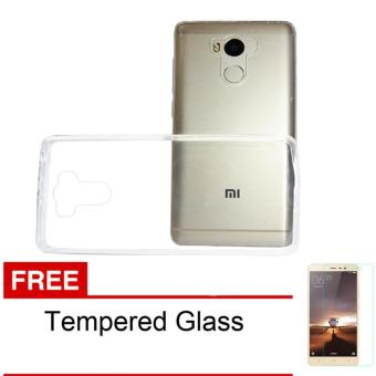 Case Softcase Ultrathin for Xiaomi Redmi 4 Clear Free Tempered Glass .