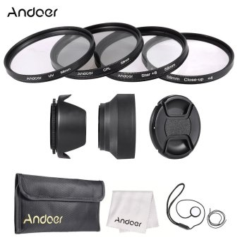 Harga Andoer 58mm Lens Filter Kit (UV + CPL + Star+8 + Close-up+4 ) with Lens Cap + Lens Cap Holder + Tulip & Rubber Lens Hoods + Cleaning Cloth