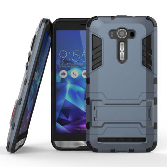 Harga PC + Silicone Dual-Layer Bumper Case with Kickstand for Asus Zenfone 2 Laser ZE550KL 5.5 inch (Navy Blue)