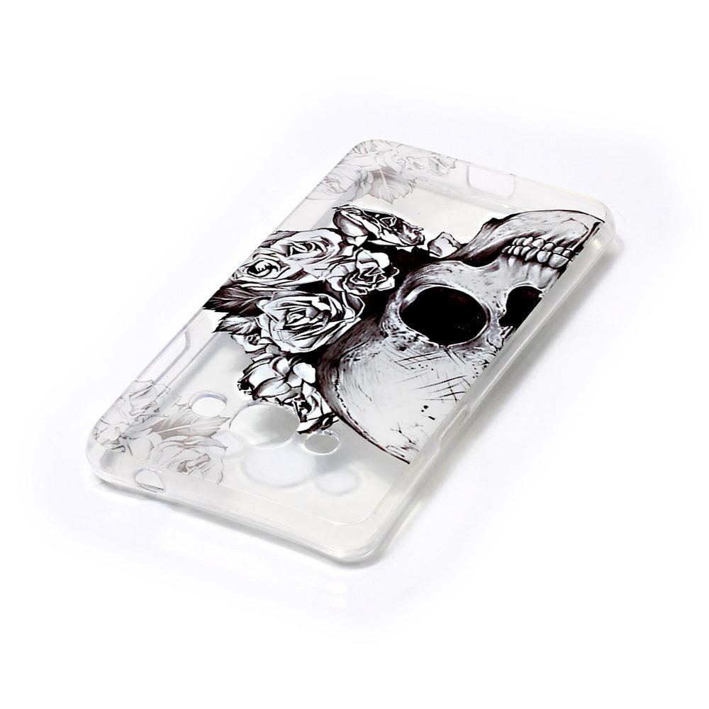 ... IMD bermotif TPU Soft punggung Case untuk Samsung Galaxy J3 Pro - tengkorak dengan Mawars ...