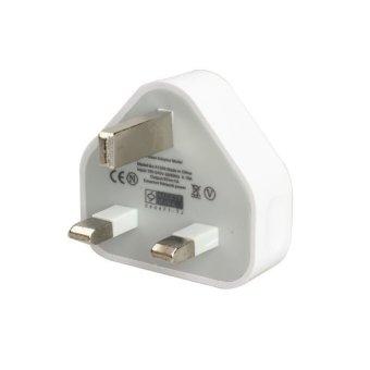 Inggris USB Charger dinding dengan kabel data sinkronisasi untuk iPhone 4 4S iPod iPad (putih) - 2