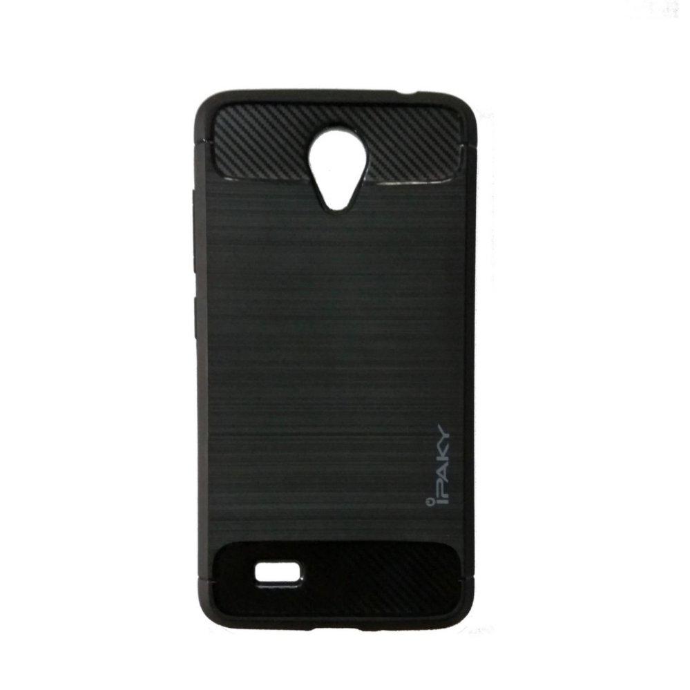 iPaky Carbon Fiber Shockproof Hybrid Back Case for VIVO Y21 - Black .