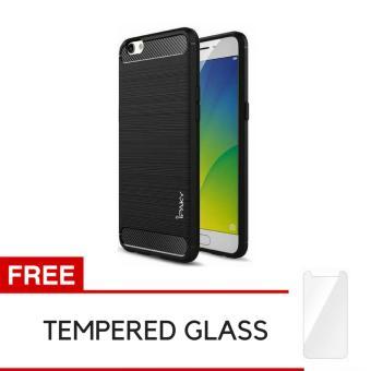 iPaky Carbon Fiber Shockproof Hybrid Back Case for VIVO Y55 - Black + Gratis Tempered Glass