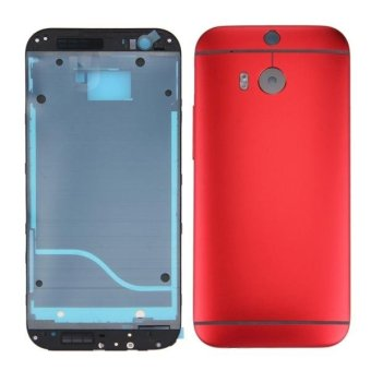IPartsBuy For HTC One M8 Full Housing Cover (Front Housing LCDFrame Bezel Plate + Back Cover)(Red) - intl