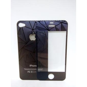 iPhone 4G 4S Tempered Glass 3D Diamond Color Mirror Front And Back- Black