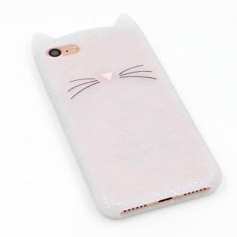iPhone 5 5s Case,Cute 3D Gray Glitter MEOW Party Cat Kitty Whiskers Soft Silicone Case for iPhone 5 5s 5SE (Cat-Glitter) - intl - 3