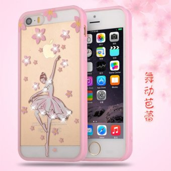 iPhone 5 / 5S / SE Pink diamond TPU fashion phone case/Ballet dancing - intl