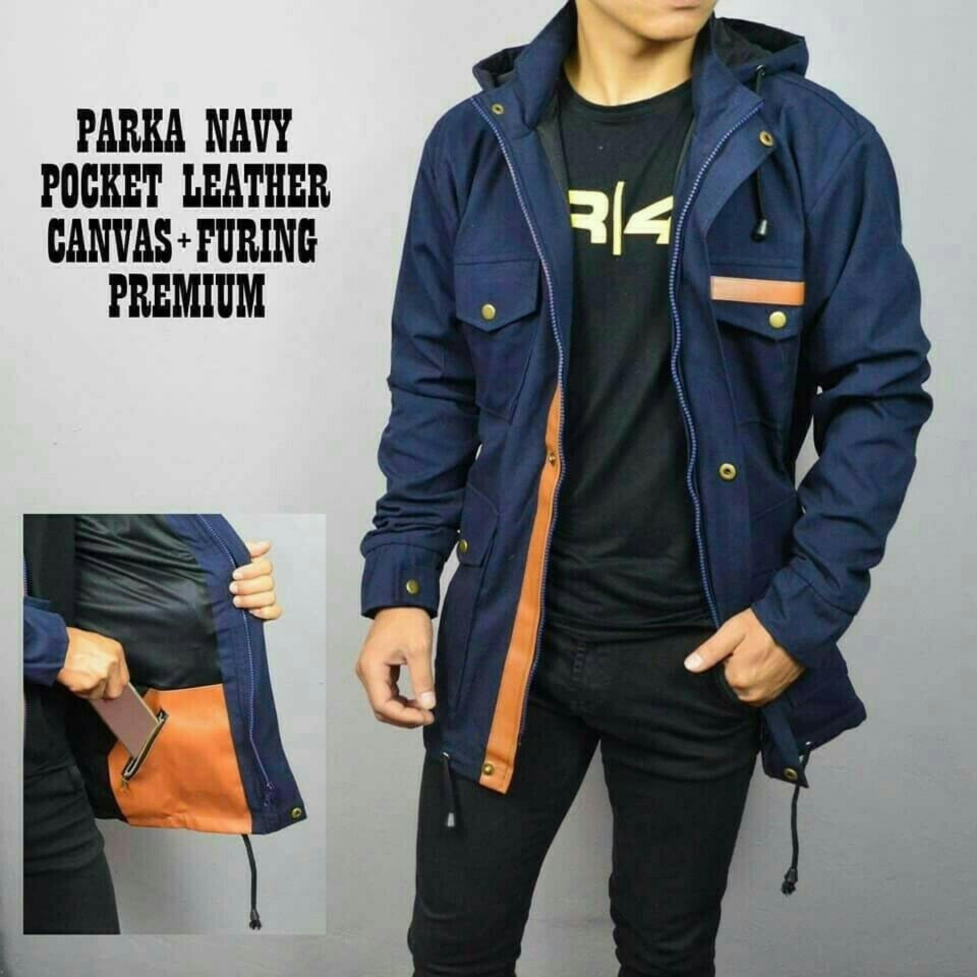 Jaket PARKA Pria Bolak Balik 2 IN 1 Premium - NAVY