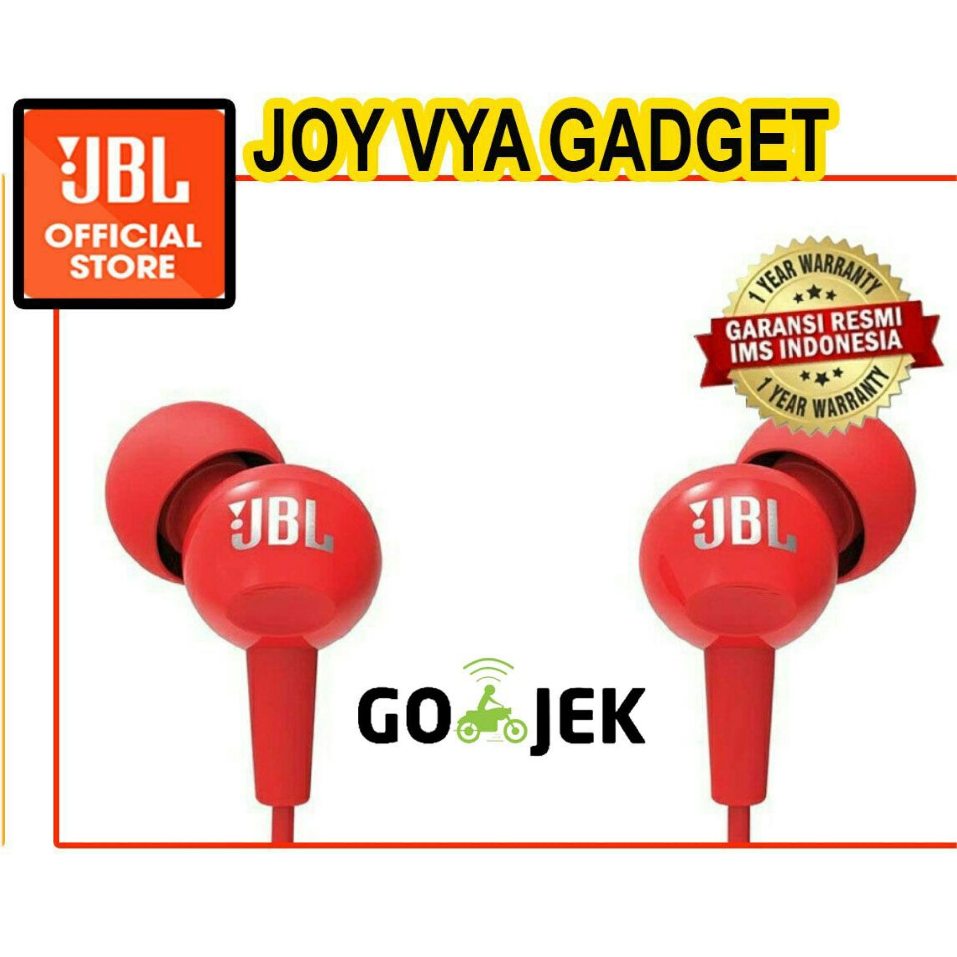 Jbl C100si In Ear Headphone With Mic Original Garansi Resmi Ims T110 Pure Bass Microphone And Flat Cable Earphone Bkn