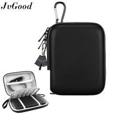 JvGood Hard EVA Shockproof Travel Storage Carrying Case Bag For Esensial Seagate Expansion Kabel Charger WD My Passport Portable Eksternal Hard Drive, Hitam