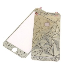 K-Box Premium 3D Diamond Silver Tempered Glass Skin Protector for iPhone 4 Depan Belakang