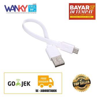 Kabel Data Charging Power Bank Pipih Micro USB - Putih