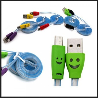 ... Kabel USB Charger Smile LED Menyala 3