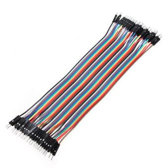 Kawat kabel jumper konektor Male/Male papan tempat memotong roti untuk Arduino 20 cm 2.54