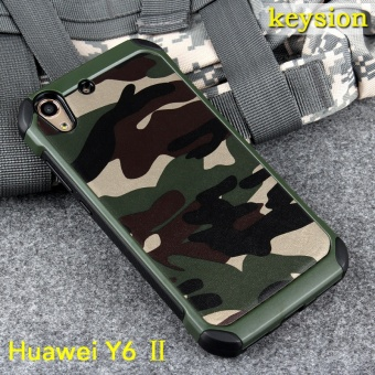 Keysion Case for Huawei Y6 II 2 in1 Army Camo Camouflage PatternPC+TPU Armor Anti