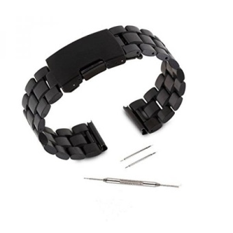 Kuxiu 22mm Stainless Steel Replacement Watch Band Strap for LG G R W100 W110 & Samsung Gear 2nd & Pebble Smartwatch Black Color + Tools - intl