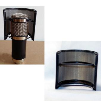Lapis Ganda Rekaman Mikrofon Topeng Kaca Pop Filter Dengan Perisai Hitam - 5