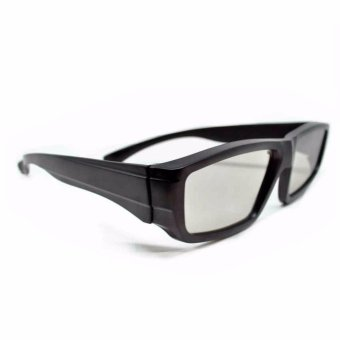 LCD Plastic Circular Polarized 3D Glasses Kacamata 3D for LG TV or Real 3D Cinema 3 Dimensi Nonton Televisi Film Aksesoris Kaca Mata Black Sunglasses Eyeglasses Frame Material Plastik Ringan Mudah Dipakai Stylish Design - Hitam
