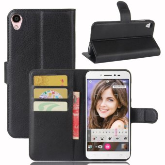 Leather Flip Cover Phone Case Wallet Card Holder For ASUS Zenfone 3 Go ZB501KL / Zenfone Live ZB501KL (Black) - intl