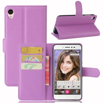 Leather Flip Cover Phone Case Wallet Card Holder For ASUS Zenfone 3Go ZB501KL / Zenfone Live ZB501KL (Purple) - intl