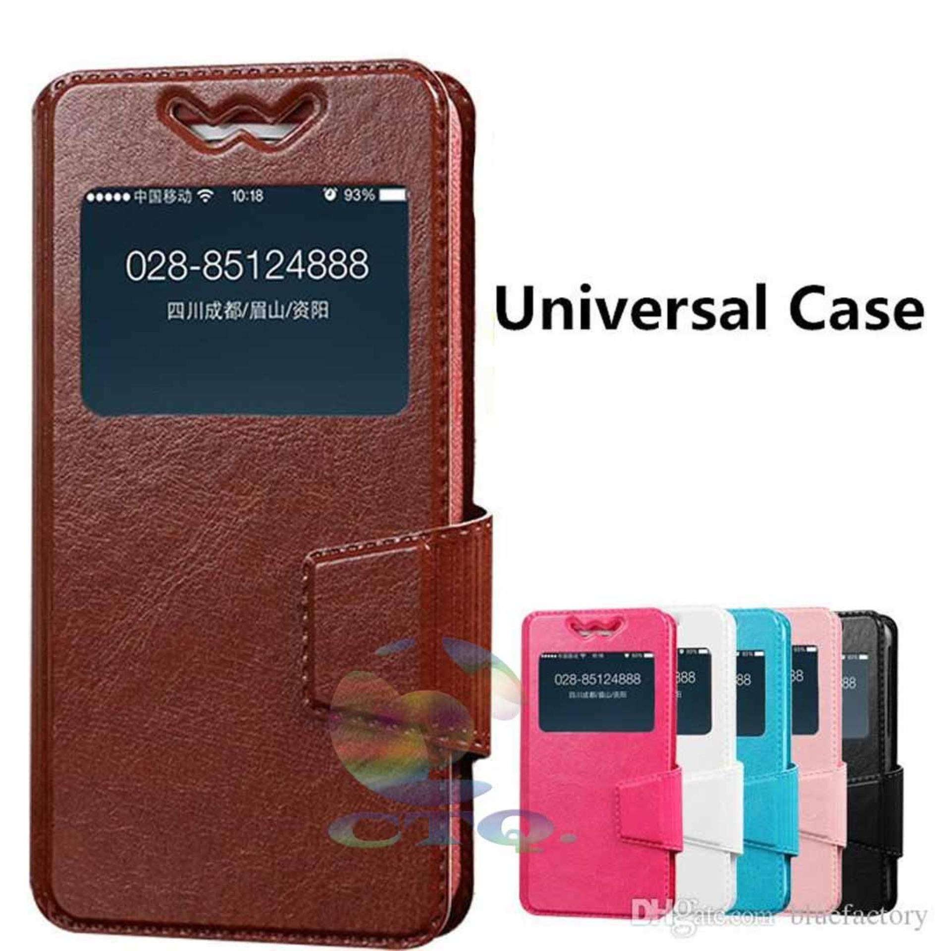 Leather Windows View Case For Hisense Kingkong 2 Smartphone SlideUp Case Universal Flipshell / Universal Flipcover