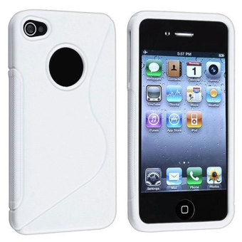 Leegoal putih S baris penutup Case TPU untuk iPhone 4 4S - International