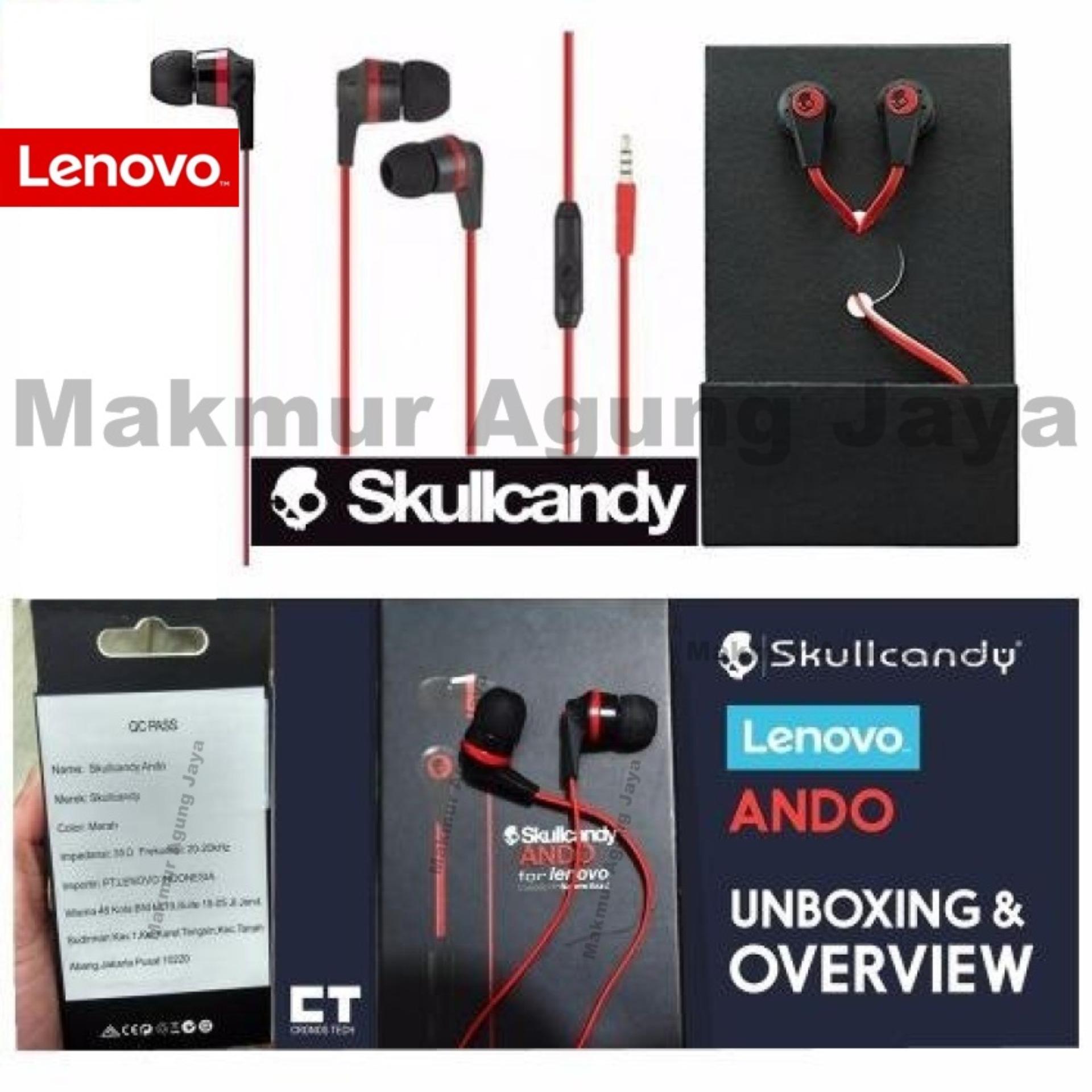 Lenovo Earphone Headset / Handsfree Skullcandy / INKD / Ando /Warna Red .