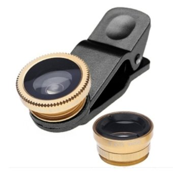 Lensa Fisheye 3in1 For Universal Smartphone Fisheye - Wide - Macro - Gold
