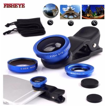 Lensa Fisheye 3in1 For Universal Smartphone Fisheye,Wide,Macro-Biru