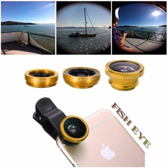 Lensa Fisheye 3in1 For Universal Smartphone Fisheye,Wide,Macro-Gold