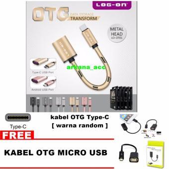 Log On Kabel OTG Type-C + Bonus Kabel OTG Micro Usb