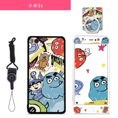 Lovely 3D Painting Front Full Cover Color Tempered Glass Case Screen Protector Film + Back Cartoon