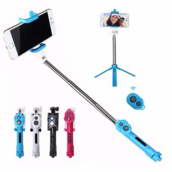 Lucky - Tongsis 3 in 1 With Bluetooth + Tripod Selfie Stick - Biru