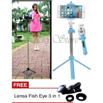 Lucky Tongsis 3 in 1 With Bluetooth Tripod Selfie Stick Biru Gratis .