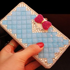 luxurious Women Handmade Rhinestone Diamond Leather Wallet Cover Case For Alcatel POP C1/OT4015 - intl