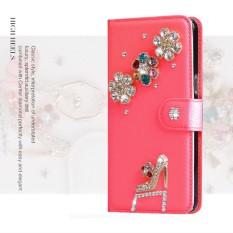 luxurious Women Handmade Rhinestone Diamond Leather Wallet Cover Case For HTC Desire 400 - intl