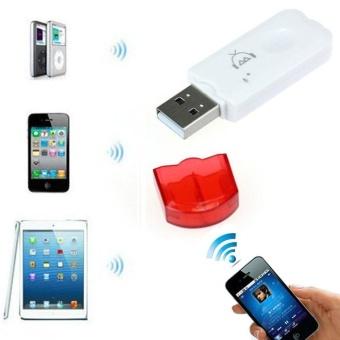 Terbaik Murah Merah Wireless USB Bluetooth Audio musik Receiver Adapter untuk iPhone 4 5 Harga Penawaran