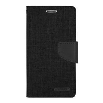 Mercury Canvas Diary Case For Samsung Galaxy Grand Prime G530 Flip Cover - Hitam