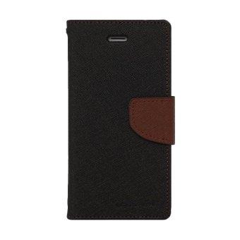 Mercury Leather + TPU Cover for Samsung Galaxy Mega 2 G7508 - Hitam/Coklat