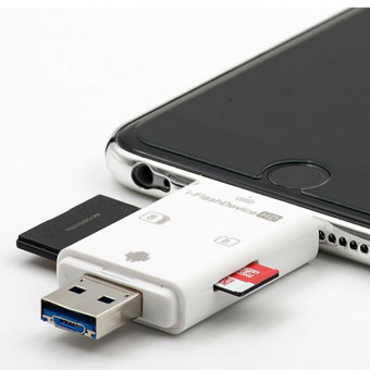 Micro USB OTG disebut TF SD memori card reader saya flash driveuntuk iPhone 5S Samsung (putih)