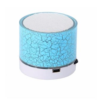 Mini Speaker Portable Bluetooth Wireless with Super Bass Stereo LED - Biru